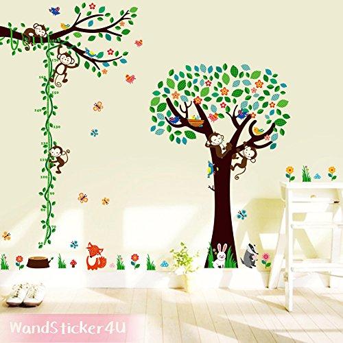 wandsticker4u-xxl-wandtattoo-frohliche-waldtiere-im-kinderzimmer-mit-messlatte-effektbild-280x210-cm