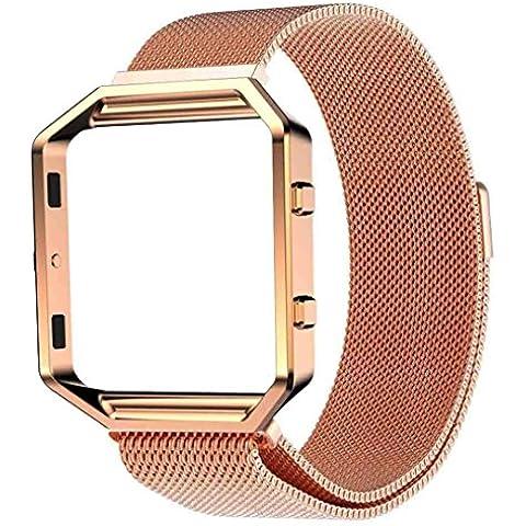Amlaiworld Milanese marco magnético de acero inoxidable reloj Band + metal para el Fitbit Blaze (Oro