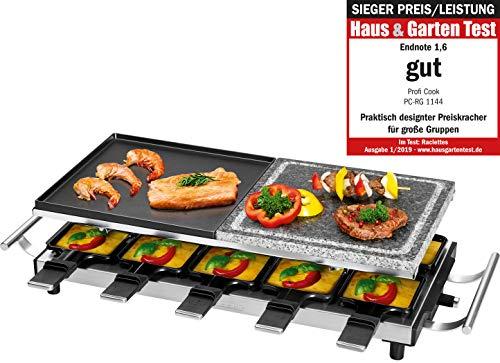 Proficook della RG 1144Raclette/Grill da tavolo con natura Grill Pietra padelline e piastra in ghisa reversibile, 10, 10Spatole in legno, 1700W