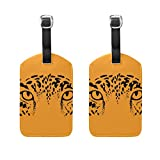 COOSUN Eyes Of Leopard Jaguar On Orange Background Luggage Tags Travel Labels Tag Name Card Holder for Baggage Suitcase Bag Backpacks, 2 PCS