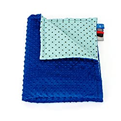 75cm x 100cm, Royal Blue + Stars Mint: 1buy3 MINKY lined baby blanket |plush blanket |play rug |cuddle blanket 75 x 100 cm (Royal blue + Stars mint)
