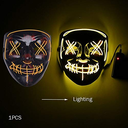 Kostüm Spooky Kids - WSJDE Halloween Horror Maske Led Maske Glow In The Dark Kostüm Kids Spooky Carnival Mask Kostüm Party Dekoration Glowing Demon Evil   gelb