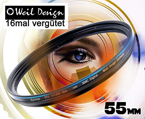 Polfilter POL 55mm Circular Slim XMC Digital Weil Design Germany SYOOP * Kräftigere Farben * Frontgewinde * 16 Fach XMC vergütet * Filterbox * zirkulare (Pol Filter 55mm)