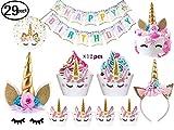 Joyhill Cake Licorne avec cils, bandeau, petits gâteaux et bannière de joyeux anniversaire, pour anniversaire, fête de naissance, décor de jour pour enfant, paquet de 29 avec bannière de paillettes
