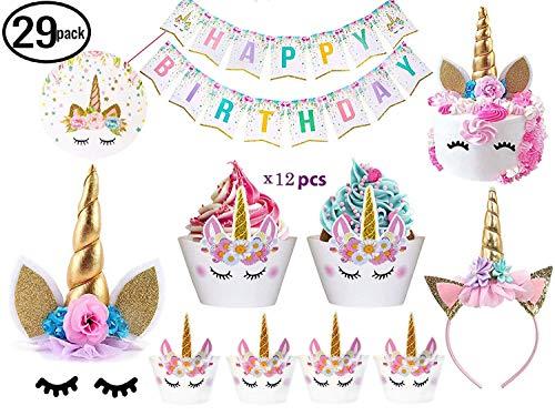 Decoración para tartas de unicornio de Bitian con pestañas, diadema, envoltorios para cupcakes y pancarta de cumpleaños/suministros de fiesta de unicornio