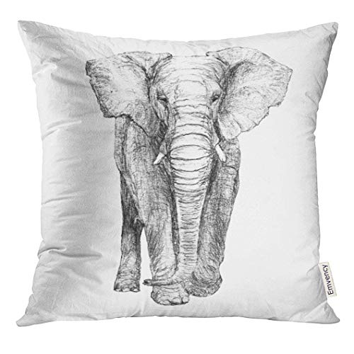 Throw Pillow Cover Gray African Elephant Front View Greyscale Black and White Original Pencil Drawing Artistic Decorative Pillow Case Home Decor Square 18x18 Inches Pillowcase -
