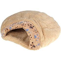 Cama de mitad cubierta de cojin de mascotas - SODIAL(R)Nueva cama de mitad cubierta de cojin de mascotas comoda y calida de invierno bonita en forma de hamburguesa de felpa M