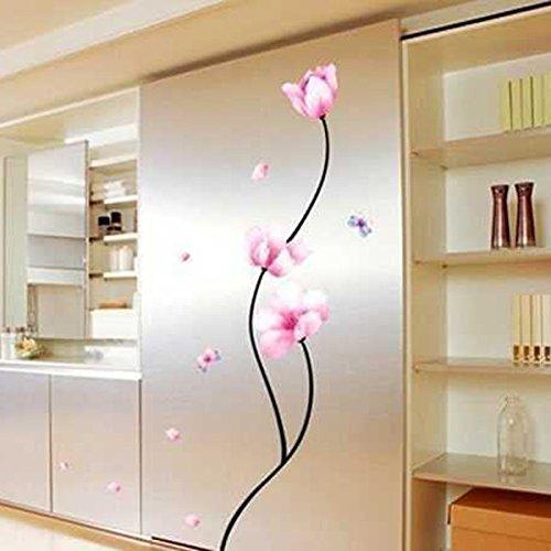 Fairy Season Wall Art Sticker Pink Flower Butterflies Wall Decal For Living  Room Bedroom Kitchen Part 94