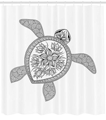 LongTrade Turtle Shower Curtain Duschvorhang Artistic Turtle Figure Henna Mehndi Tattoo Style Doodles Floral Ornaments Asian, Fabric Bathroom Decor Set with Hooks, White and Black 48x72 inch -