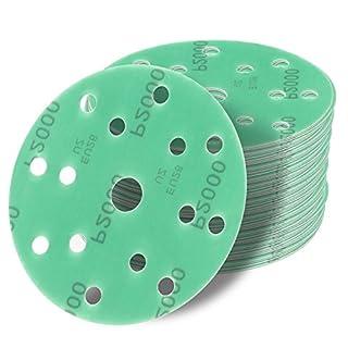 48 Stück Klett-Schleifscheiben green Ø 150 mm Körnung je 8 x 2000/1500/1200/1000/800/400 für Exzenter-Schleifer 15 Loch