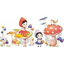 HCCY Cartoon Little Red Riding Hood fungo creativo muro-camere per bambini sono accoglienti e decorate con mobili camera d'arte adesivo 165 * 80cm, Cappuccetto Rosso