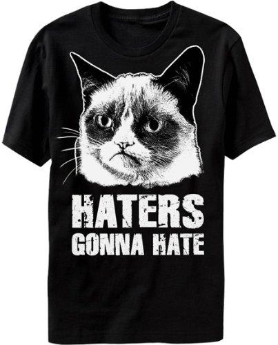 Glorioso ritorno Grumpy Cat Haters Gonna Hate maglietta da uomo nero Black XL