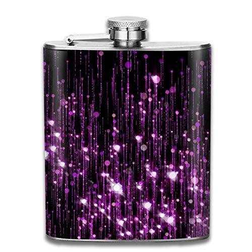 FGRYGF Violet and Purple Glitter Particles Slow Up Glowing Sparkles Fashion Portable Stainless Steel Hip Pallone Whiskey Bottle for Men and Women 7 Oz