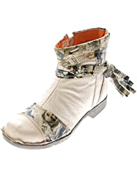d60143b6d5 Leder Damen Stiefeletten Comfort Boots Knöchel Schuhe Schwarz Blau Rot Grün  Weiß TMA 5001 Halbschuhe