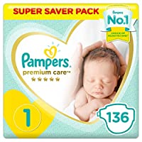 ‏‪Pampers Premium care Diapers, Size 1, Newborn, 2-5 kg, Super Saver Pack, 136 Count‬‏