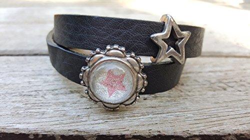 Milano Leder-armband (Milano Leder Armband schwarz mit versilbertem Stern und Glitzerstern rosa)