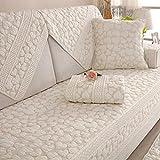 L&WB Kissen Rutschfeste 100% Baumwolle Four Seasons Universal Stoff Schonbezug Einfache Moderne Sommer Sofa Cover (Weiß),70 * 210Cm