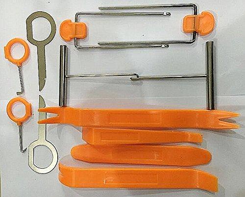 JZK Kit 12 strumenti smontaggio leve per smontare autoradio pannelli portiere cruscotto maniglie porta bocchette aerazione set attrezzi rimozione riparazione per togliere staccare auto motocicletta