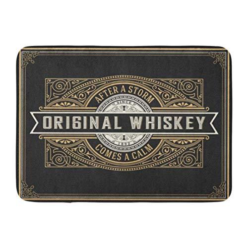 Bad Teppiche Outdoor/Indoor Fußmatte Vintage Alten Whisky Label Grenze Retro westlichen Bier Antik Badezimmer Dekor Teppich Badematte ()