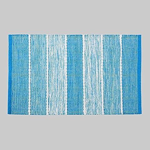 Dormitorio MOREY algodón hecho a mano Colchón puerta Mat puerta de la sala Cama borde del colchón otomanos geométricas simples (azul cielo) ( Tamaño : 140*200cm
