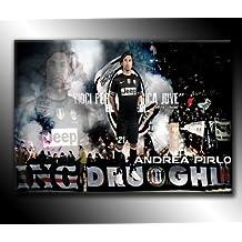 Poster di Andrea Pirlo della Juventus, stampa artistica su tela, 76,20 x 50,80 cm, pronta da appendere