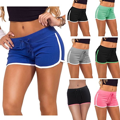 CRAVOG Damen Baumwolle Shorts Hot Pants Sporthose Strand Running Gym Yoga Shorts Hosen Schwarz