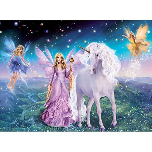 Mns9516 pittura a mano di un elefantino e unicorno per numero di quadri decorazione della parete senza cornice 40x50cm