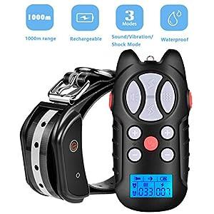 Collier de dressage pour chien électrique avec télécommandée vibration sonore choc fort/faible 1000m Collier anti-aboiement étanche avec niveau de 100 pour chien petit moyen grand de plus 5kg