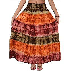 SNS indio Tie Dye Largo Maxi falda GREEN & ORANGE Talla única