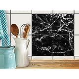 Badezimmerfliesen   Design-Fliesenaufkleber Fliesen-Sticker Dekofolie Badezimmergestaltung   15x15 cm Design Motiv Marmor schwarz - 4 Stück