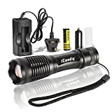Cree 900 Lumens Led Flashlights by icoudy Adjustable XM-L T6 Tactical Torches for Outdoor Cycling Camping Hiking-Rechargeable 18650 Battery & Charger Included -Handheld Battery LED