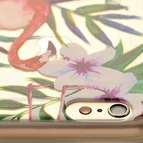 iProtect Apple iPhone 6, 6s TPU Softcase Schutzhülle kleine Flamingo-Parade Pink auf Weiß Hibiskus Flamingo