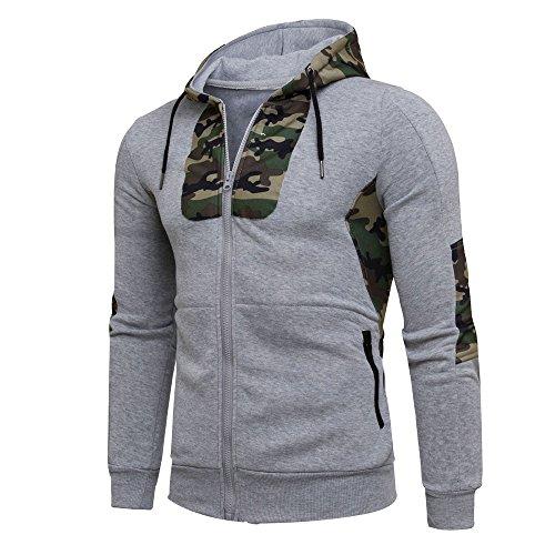 Luckycat Herren Herbst Winter Camouflage Hoodie Kapuzenpulli Mantel Jacke Outwear Mode 2018