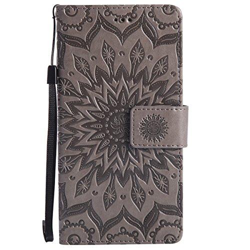 Uposao Handyhülle für Huawei P8 Leder Tasche Schutzhülle Handytasche Mandala Blumen Prägung Muster Ledertasche Lederhülle Bookstyle Klapphülle Flip Cover mit Kartenfach,Grau