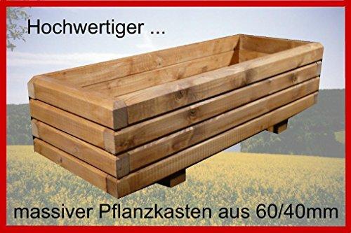 Massiver Pflanzkasten 120x60x28cm (LxBxH) aus Holz 60x40mm lasiert mit Holzschutzlasur TEAK