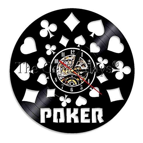 er King Rummy Karte Led Licht Beleuchtete Spielkarten Holdem Omaha Vinyl Record Lp Uhr Für Poker Liebhaber Geschenk ()