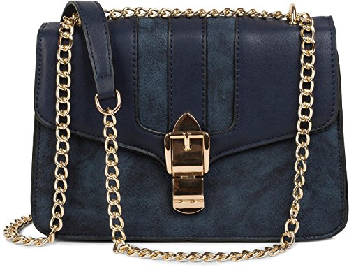 styleBREAKER Box Bag Umhängetasche im Messenger Design mit Magnetverschluss und Kette, Handtasche, Tasche, Damen 02012200, Farbe:Midnight-Blue / Dunkelblau