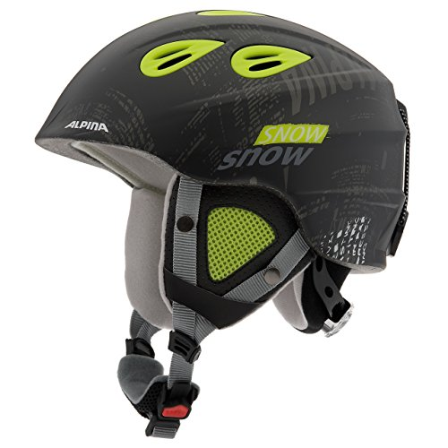 Alpina Unisex - Kinder Skihelm Grap 2.0, black yellow, 54-57 cm, 9086232