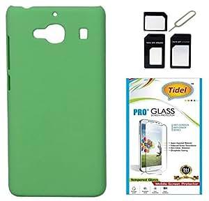 Tidel Stylish Rubberized Plastic Back Cover For Xiaomi Redmi 2s ( Green ) With Tidel 2.5D Tempered Glass & Micro/Nano Sim Adapter