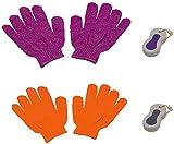 4er Set Pflege für Körper Füße und Hände mit 2 Stück Bimsstein mit Kordel und 2 Stück Massagehandschuh Waschhandschuh für Peeling und Fußpflege Hornhautentfernung, farbig sortiert