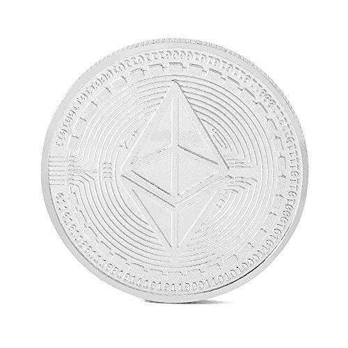 Pawaca Doré Ether Coin- Ethereum Cryptocurrencies Vous Tenir pour Collection pièce de Monnaie Décoration de Bureau à Domicile, Silver