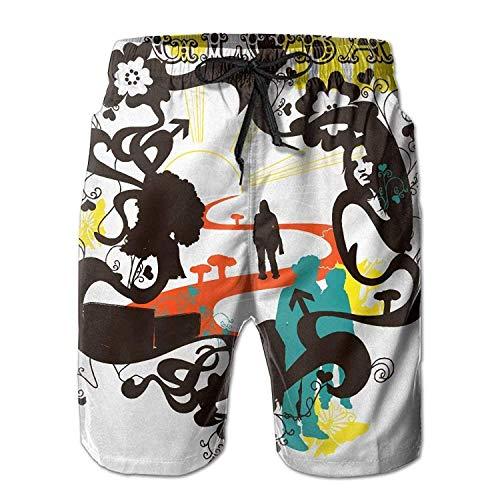 ZKHTO Personality Beach Shorts Trucks Pants Mens Board Shorts Drawstring Lightweight Fishing Shorts USA Colorado State Flag,Shorts Size XXL (Heart Fishing T-shirt)