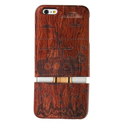 Hülle für iPhone SE 5 5S Forepin® Rosenholz Case Schutzhülle Echtem Holz Schutzhülle Hart Cover Bumper Rahmen Handyschale, Löwe Unterseeboot