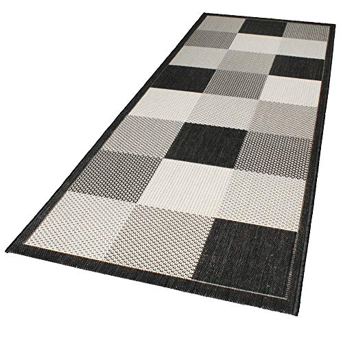 DomDeco In- und Outdoor-Teppich Checkered Black and White 80x200cm Kunststoff Läufer -