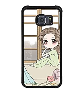 Fuson Premium 2D Back Case Cover cute girl near window With Green Background Degined For Samsung Galaxy S6::Samsung Galaxy S6 G920