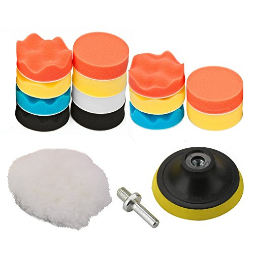 "OxoxO 4""/100mm Polishing Buffing Pad Auto Car Drill Polisher Buffer Sponge Pads Set M10 Drill Adapter With Shank (Set of 16)"