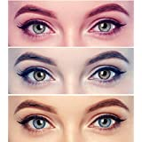 Gold Look Diamond Eye Combo Pack of 3 (Blue,Brown&Grey) Monthly Color Contact Lenses (Zero Power) with Free Lens Solution & 3 Lens Case/Container Kit