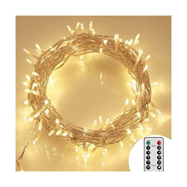 [Remote and Timer] 100 LED Outdoor Battery Fairy Lights (8 Modes, Dimmable, IP65 Waterproof, Warm White) 51bkcCMNwmL