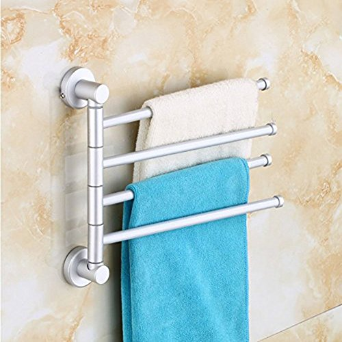 B & Y resistente in lega di alluminio di alta qualità Swing Barra Portasciugamani da bagno/cucina rack a parete Hanger Holder Organizer (4)