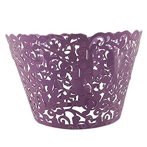 Lavendei 50Pcs Flower Vine Lace Laser Cut Cupcake Wrapper Baking Cake Cups Wedding Birthday Party Decoration